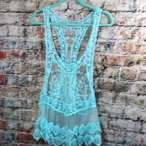 Mesh and Crocheted Lace Racer Tank in Aqua Blue